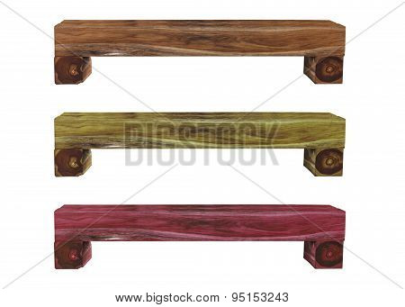 Isolated Three Color Of Wooden Bench