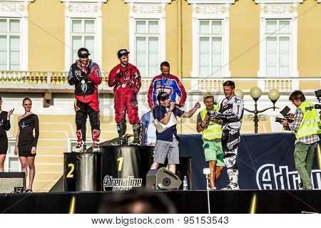 Rewarding Winners At Adrenaline Rush Moto Freestyle Show On The Palace Square In St. Petersburg