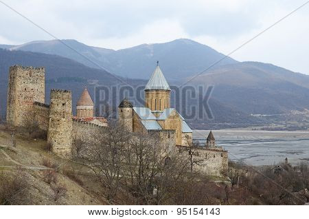 Georgia, Zhinvali-March,1 2015:Ananuri Castle on the shore of Zhinvali reservoir. Georgia
