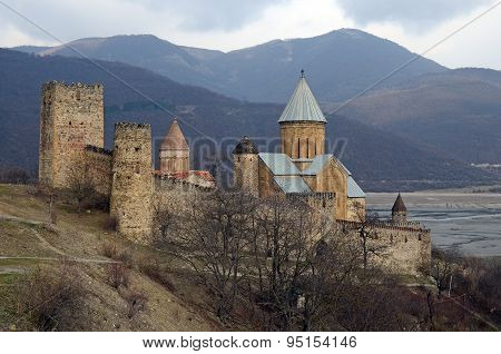 Ananuri Castle on the shore of Zhinvali reservoir. Georgia