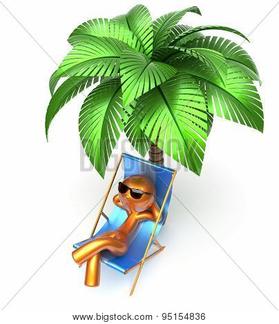 Man Character Relaxing Beach Deck Chair Palm Tree Chilling
