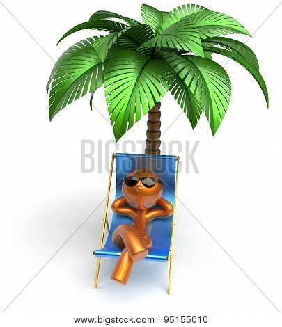 Man Character Relaxing Chilling Beach Deck Chair Palm Tree