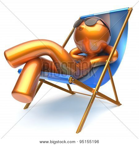 Man Character Chilling Relaxing Beach Deck Chair Sunglasses