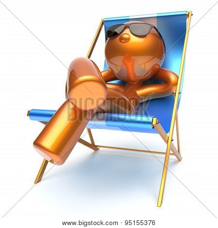 Man Stylized Beach Deck Chair Relaxing Chilling Sunglasses