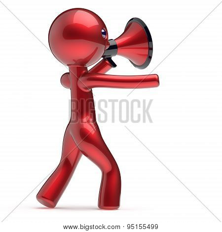 Man Promotion Speaking Megaphone Character Making News