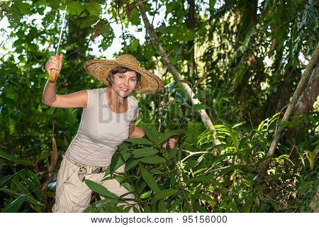 Woman Cut The Branch  In Tropical Forest