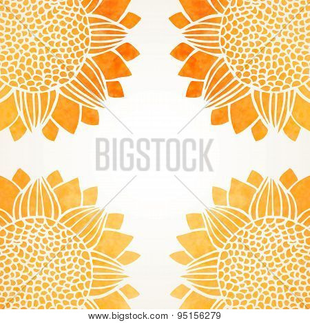 Vector Illustration With Watercolor Sunflowers