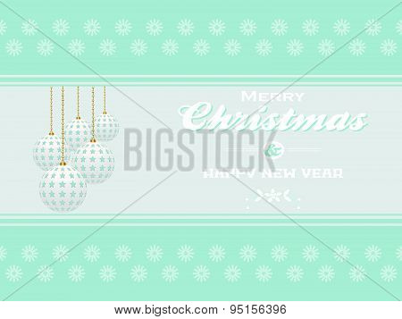 Merry Christmas On Light Blue Landscape Background
