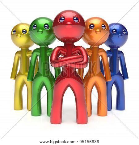 Teamwork Characters Men Crowd Businessman Leadership