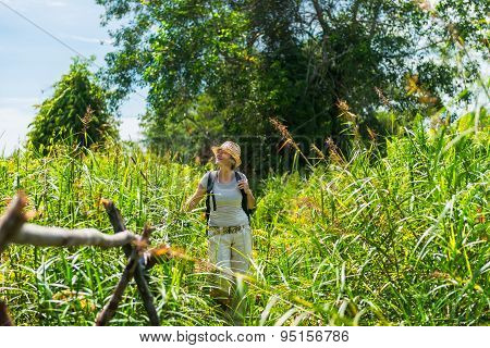 Woman Hiking In Tropical Field