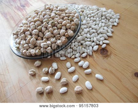 Chick Peas And White Beans.