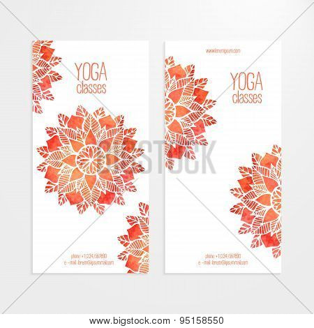 Vector Templates Of Banners With Watercolor Red Flower Mandala
