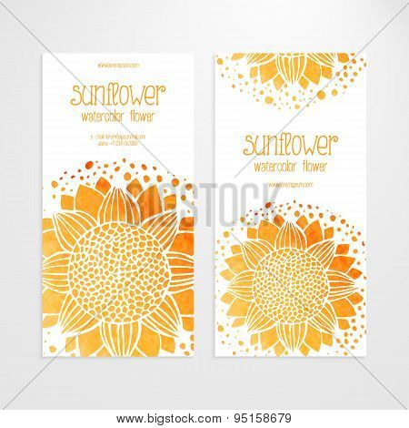 Vector Templates Of Banners With Watercolor Sunflowers