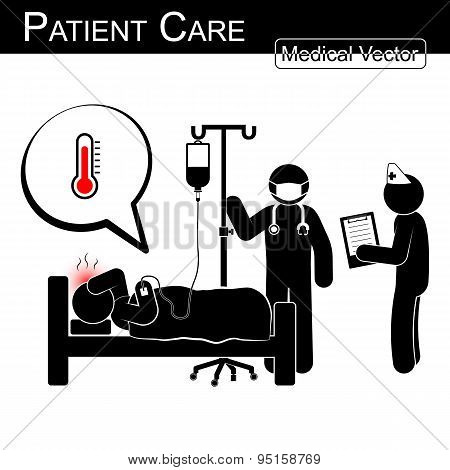Doctor And Nurse Care Patient In Hospital ( Black And White , Flat Design )