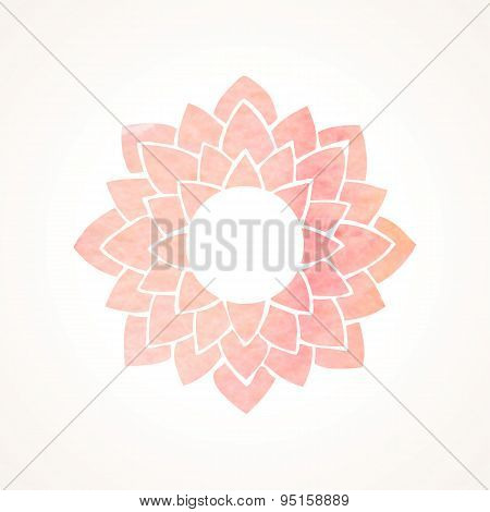 Watercolor Pink Frame With Lotus Flower Pattern. Vector Element