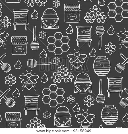 Seamless background with cute cartoon hand drawn objects on beekeeping theme: bee, honey, flowers, b