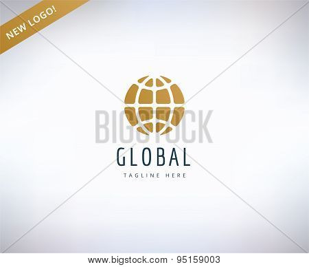 Earth map logo icon. Globe, travel or nature and business. Stock design elements.