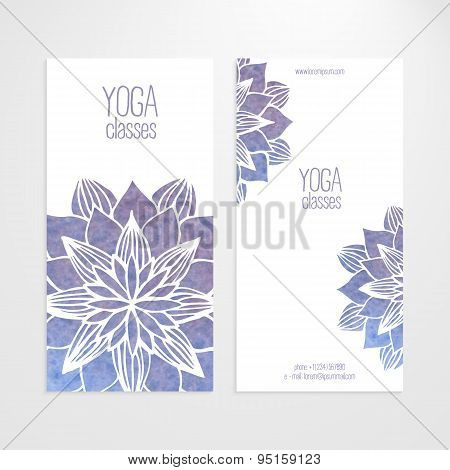 Vector Templates Of Banners With Watercolor Blue Flower Mandala