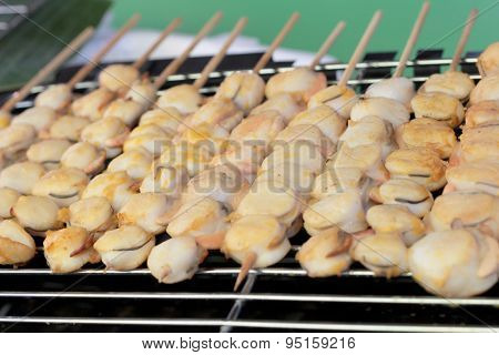 Grilled Scallops At The Market