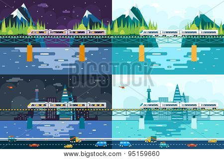 Wagons on Bridge over River Tourism and Journey Symbol Railroad Train Travel Concept Stylish Mountai