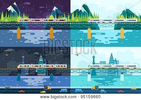 Wagons on Bridge over River Tourism and Journey Symbol Railroad Train Travel Concept Stylish Mountai