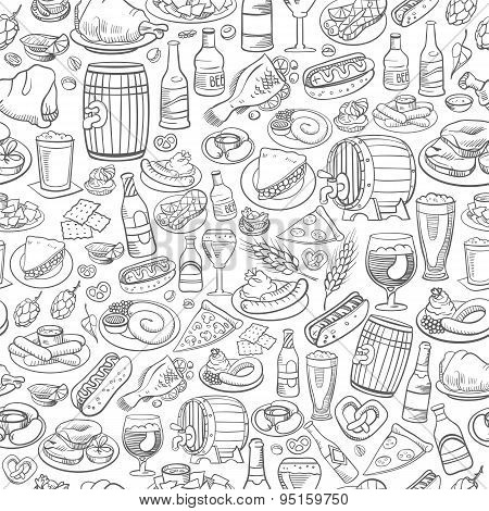 Hand Drawn Beer And Food, Seamless Background