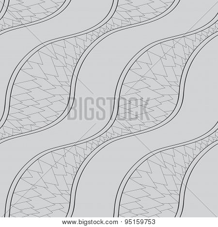 Abstract Grey And White Background Of Narrow Wavy Lines