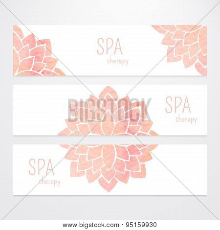 Vector Templates Of Banners With Watercolor Pink Lotus Flower Mandala