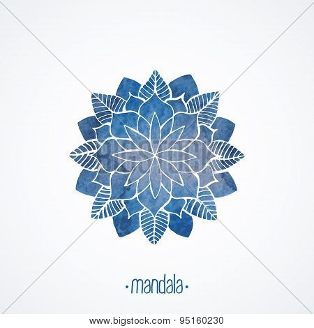 Watercolor Blue Lace Pattern. Vector Element. Mandala