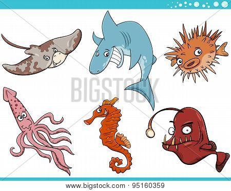 Sea Life Animals Cartoon Set
