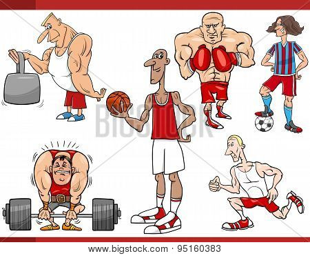 Sportsmen And Sports Cartoon Set