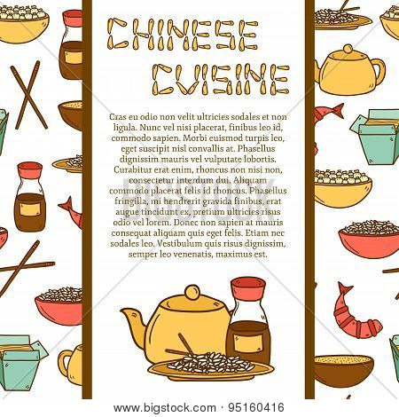 Vector template with cute modern hand drawn cartoon objects on chinese food theme with seamless background: rice, teapot, chinese pasta, soy sause, soup, chinese sticks, chinese dumpling, shrimp. Vector ethnic chinese cuisine concept