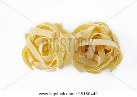 Egg Fettuccine Pasta On White Background
