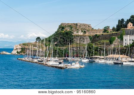 Marina view from The Old Harbor in Corfu
