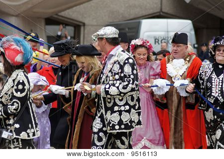 Pearly Kings And Queens And Mayors At The Pearly Kings And Queens Harvest Festival In The City Of Lo