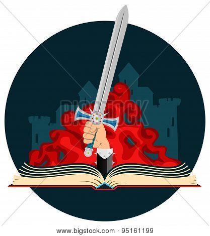 Fantasy Book with Sword