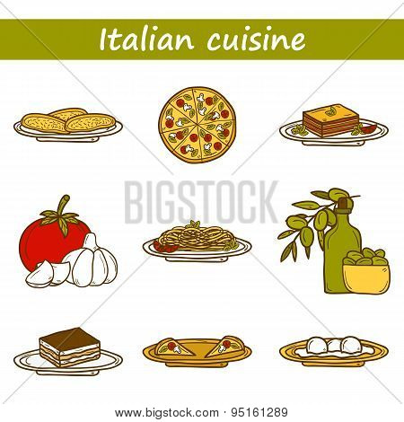 Set of cute cartoon icons in hand drawn style on italian food theme: pizza, pasta, tomato, olive oil