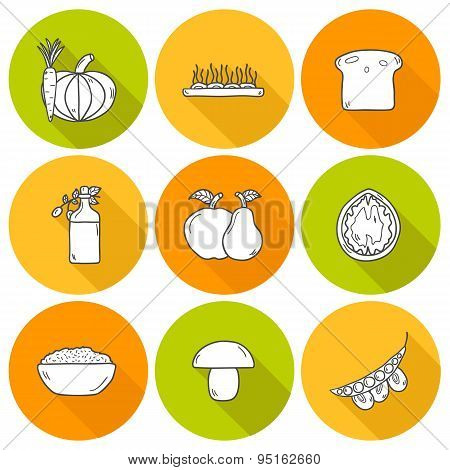 Set of modern outline icons with shadows in hand drawn style on vegan food theme