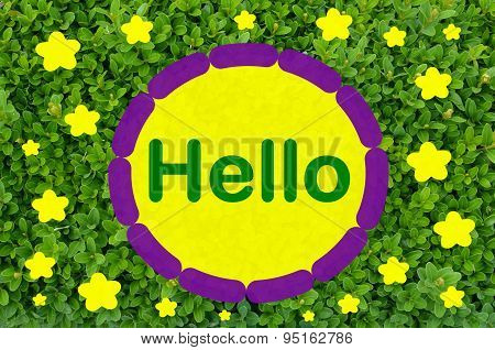 Hello greeting over green background