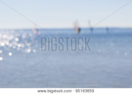 Background Of Blurry Abstraction With Windsurfers