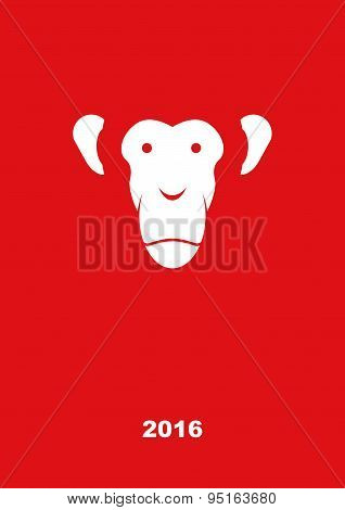 Monkey year 2016. Year of fire monkey. Greeting card on a red background. Vector illustration.