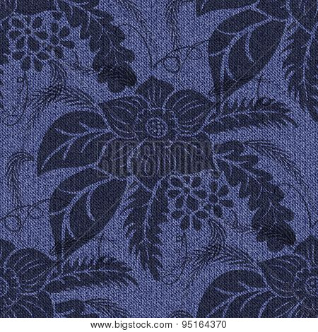 Jeans Seamless Background With Printed Black Flowers.