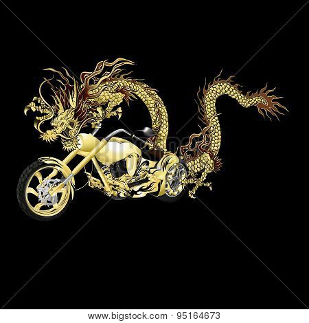 Chinese Golden Dragon With Motorbike, Black Background