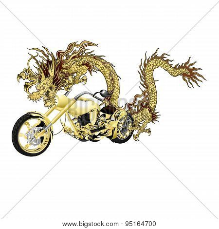 Chinese Golden Dragon With Motorbike