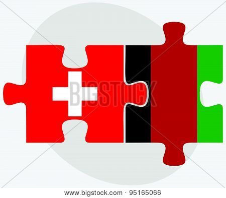 Switzerland And Afghanistan Flags In Puzzle