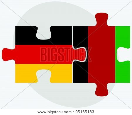 Germany And Afghanistan Flags In Puzzle