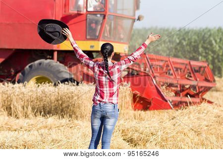 Happy Woman In Wheat Field During Harvest