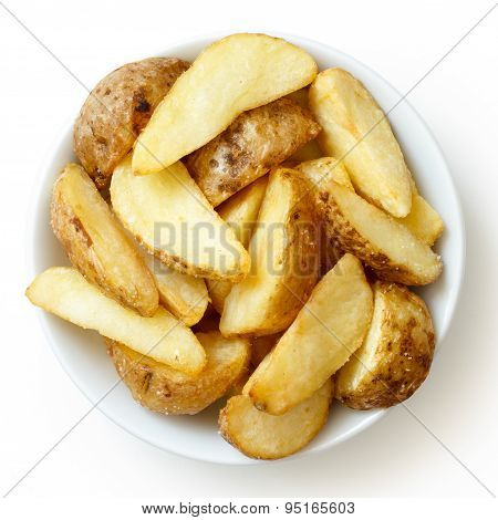 Bowl Of Fried Potato Wedges Isolated On White. From Above.