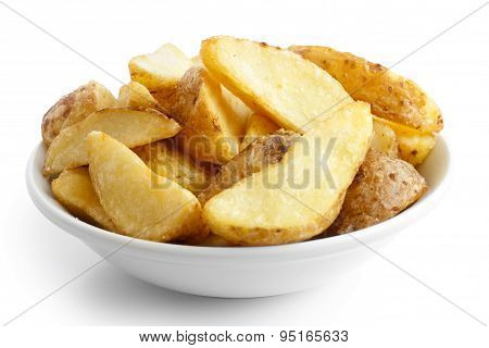 Ceramic Bowl Of Fried Potato Wedges Isolated On White.