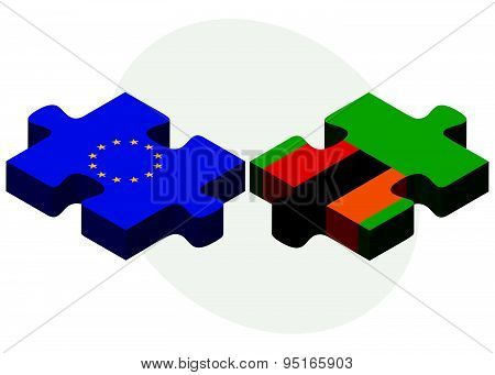 European Union And Zambia Flags